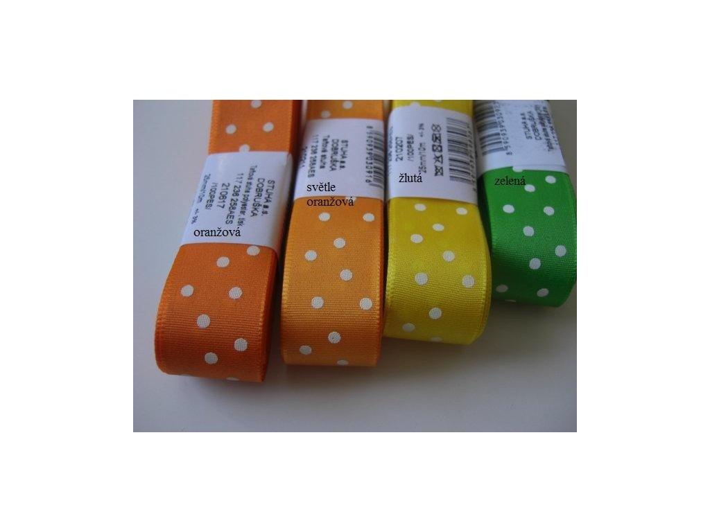 Stuha taftová PUNTÍK 25mm - různé barvy