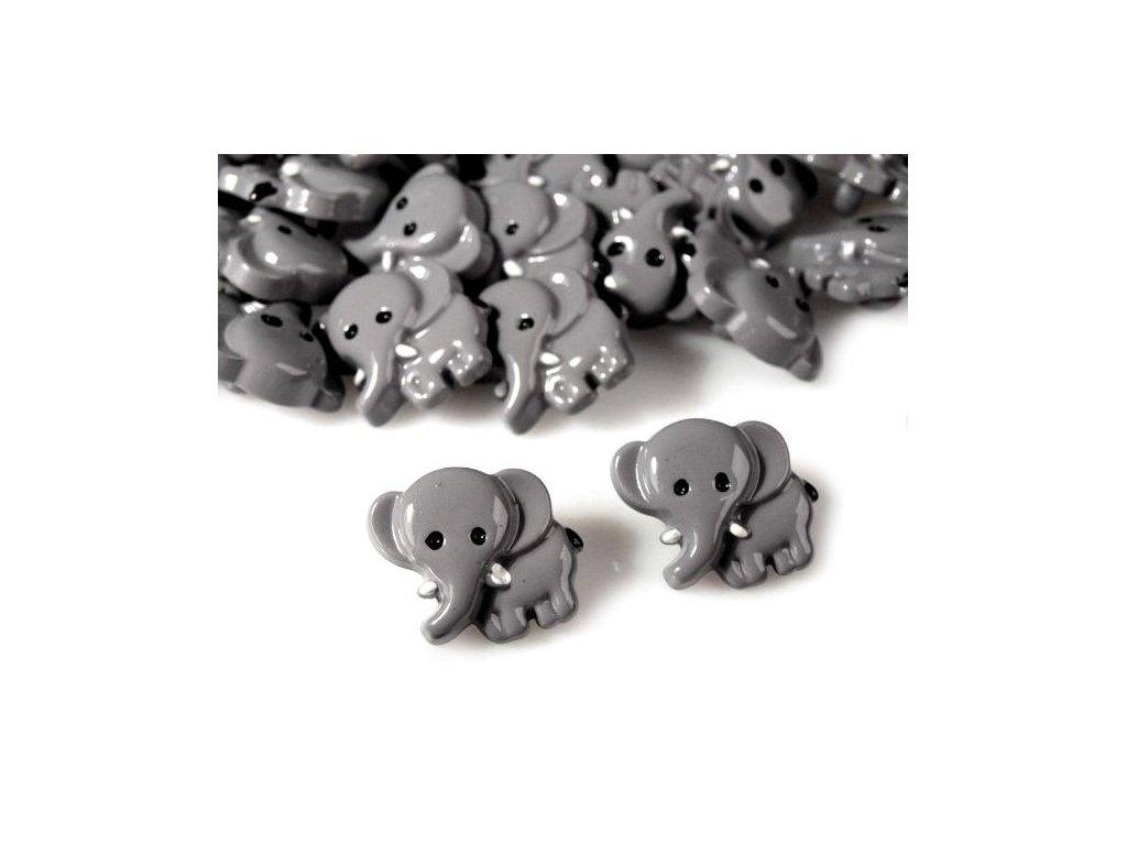 """Knoflík slon-šedý-vel. 28"""""""
