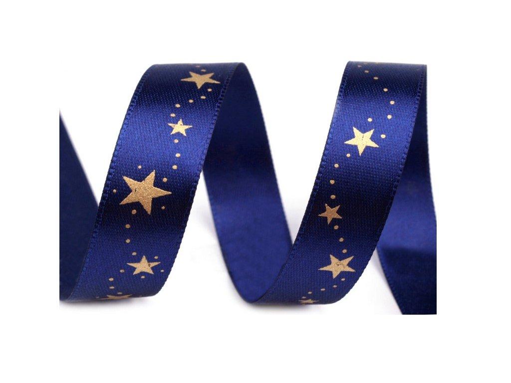 Atlasová stuha vánoční-modrá mašle-šíře 15mm