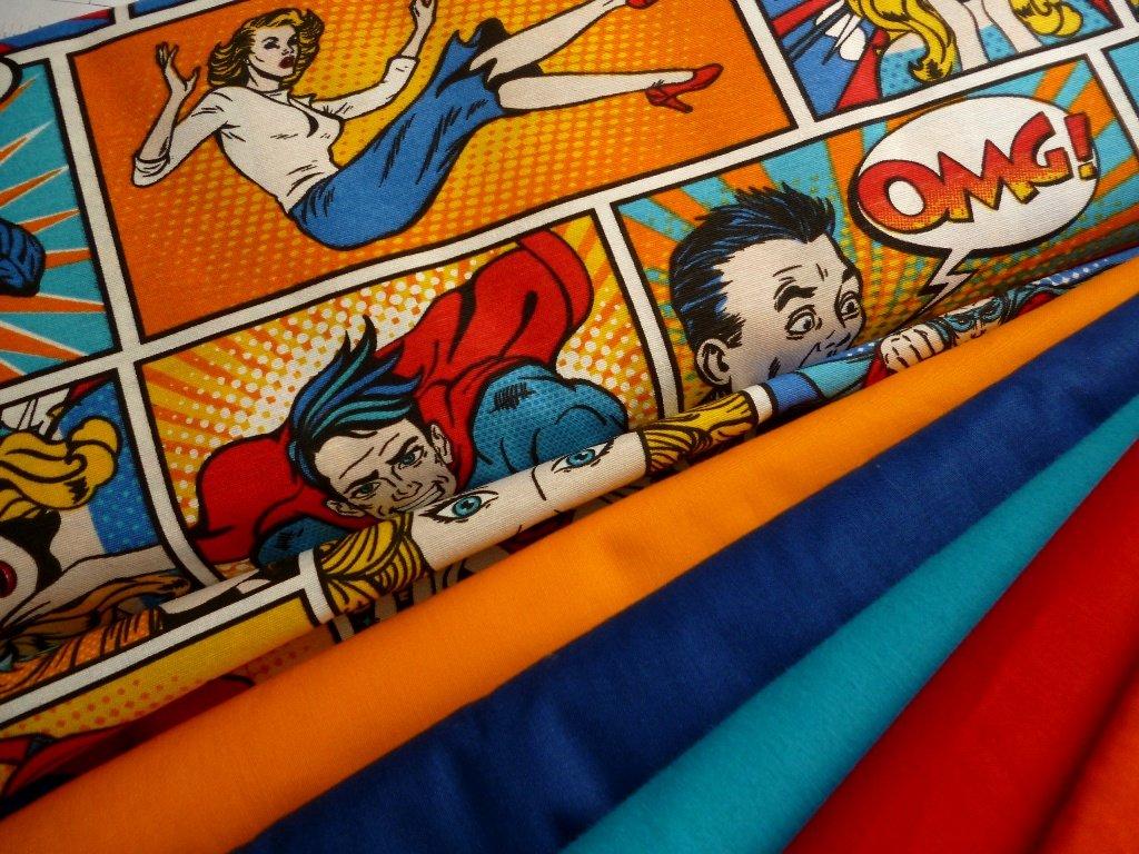 ZBYTEK 1,45 m - Komiks super-směsová látka-metráž