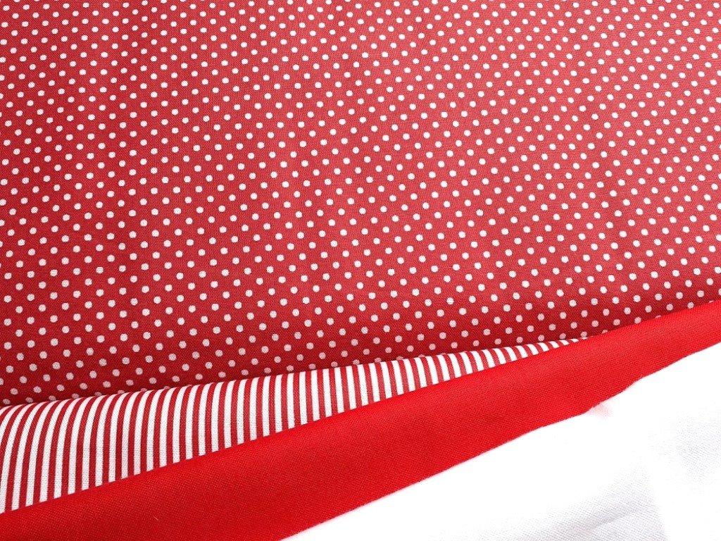 bile punticky cervena latka platno bavlna metraz 140 kombi