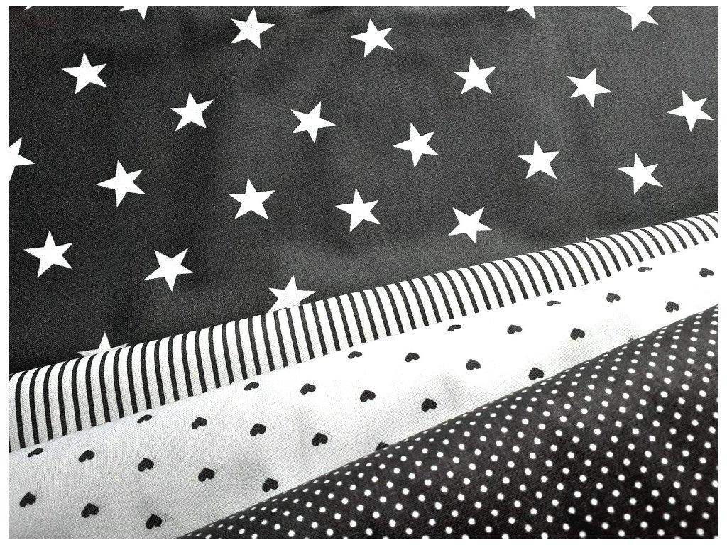 bile hvezdy seda latka platno bavlna metraz kombinace