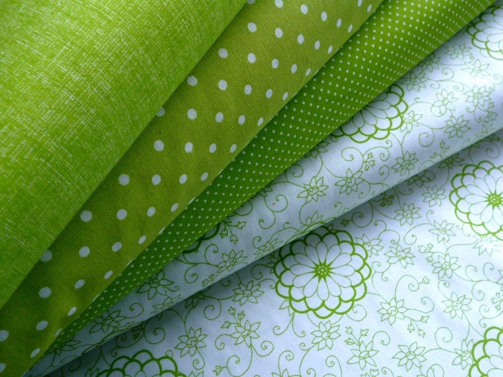 jarni zelena rezna puntiky kvety kombinace 3