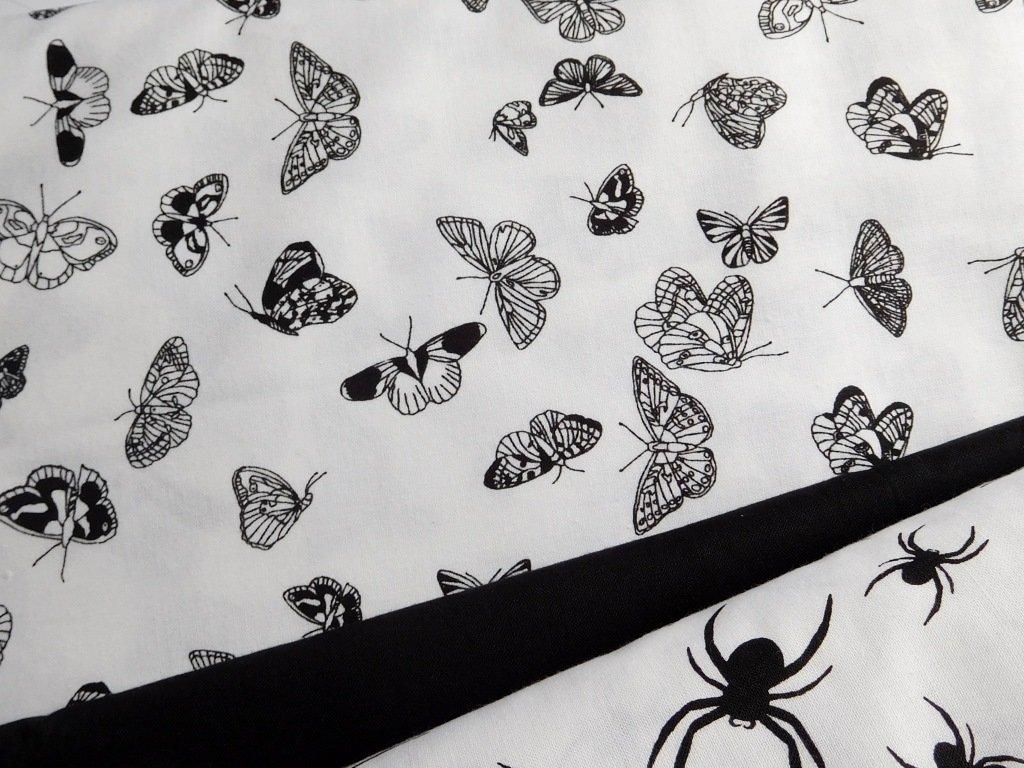 Černí motýlci - bílá látka - plátno - bavlna - metráž
