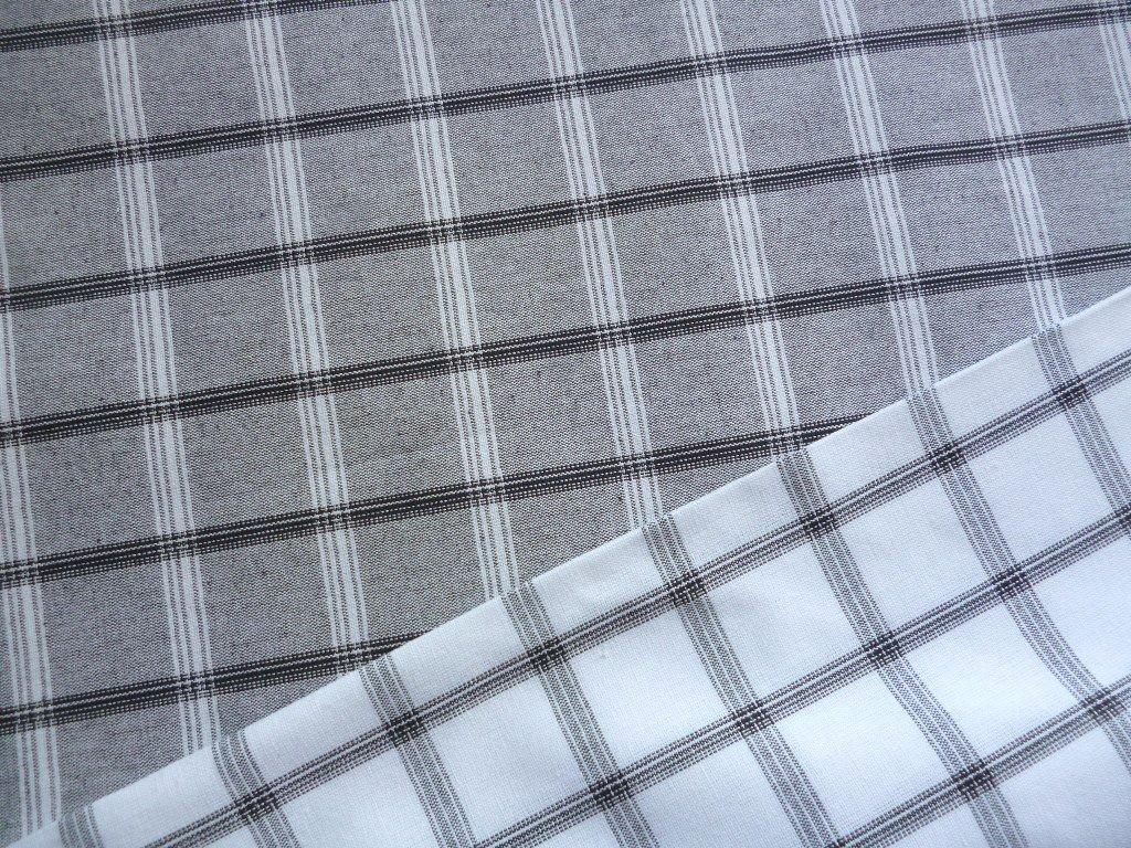 ZBYTEK 0,4m- Kanafas mřížka 4 cm šedá, bílá - varianty - látka - metráž - plátno