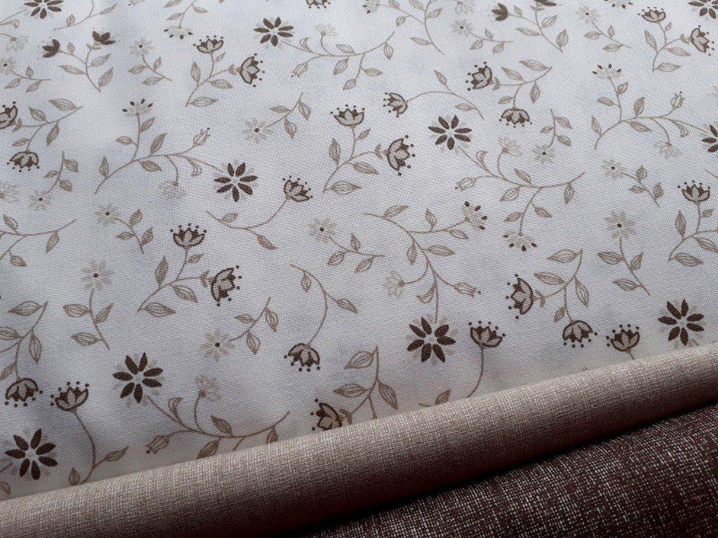 hnedobezove kvety bila latka metraz platno bavlna kombi