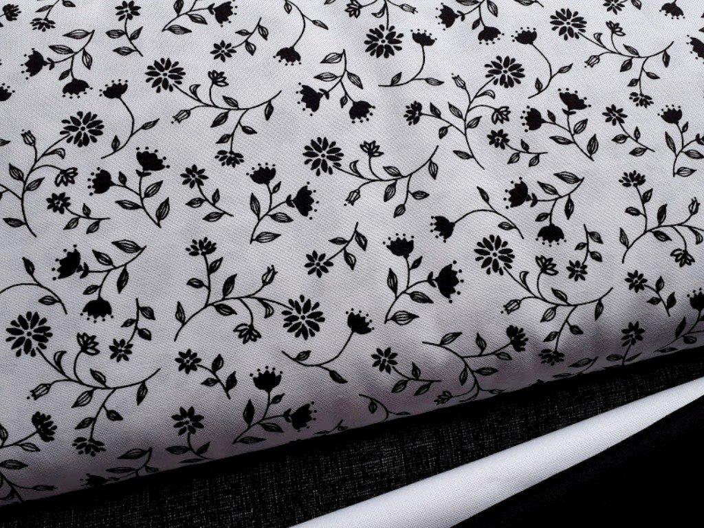 cerne kvety bila latka platno bavlna metraz