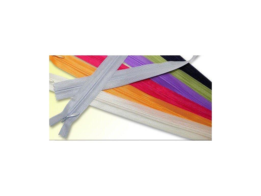 Zip - zdrhovadlo - skrytý - 20 cm - různé barvy