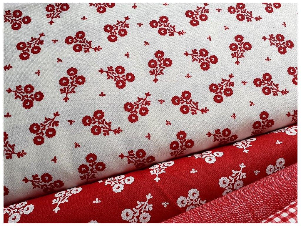 cervene kvety bila latka platno bavlna