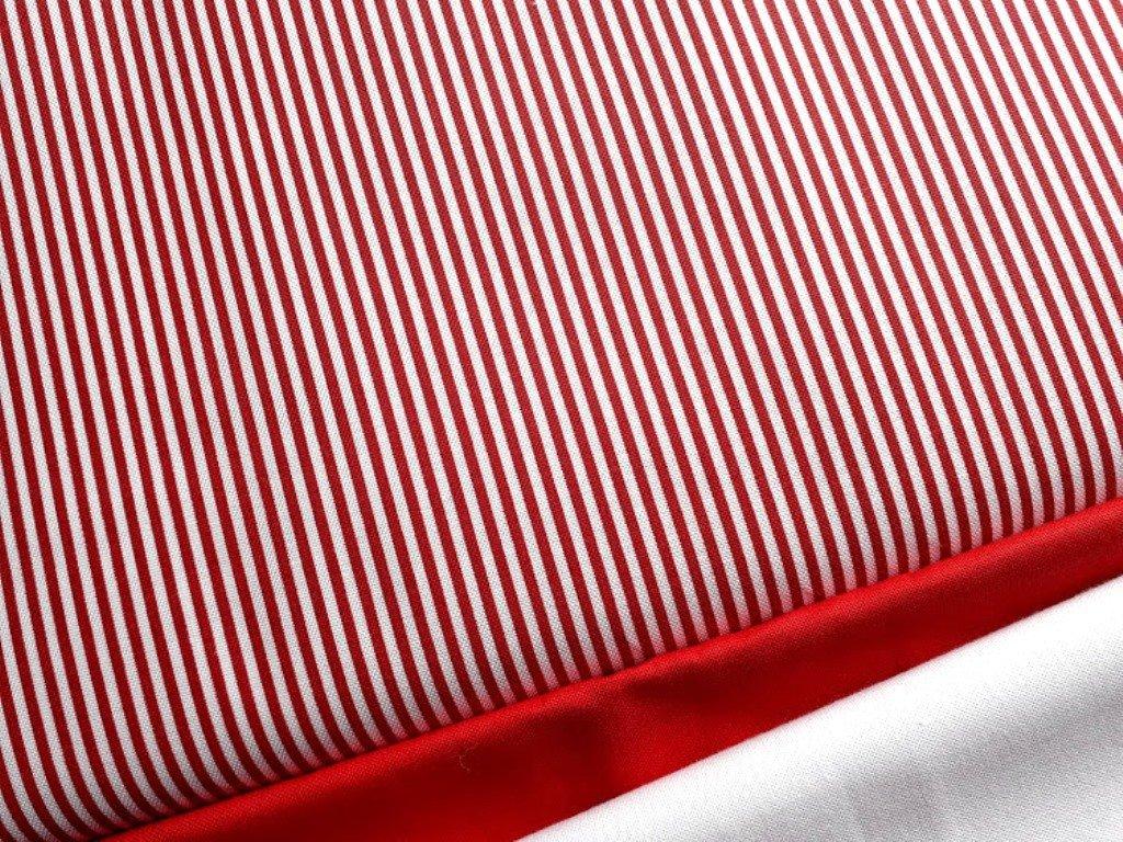 Proužky tenké-bílo červené - látka - plátno - bavlna - metráž - 140 cm