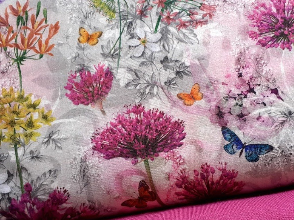 kvetiny motýlci bylinky platno bavlna metraz 160 cm