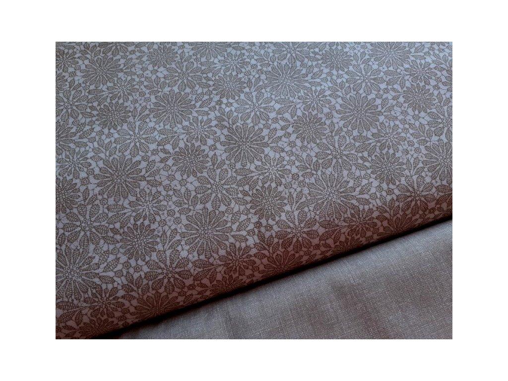 bezove krajkove kyticky bila latka platno bavlna metraz 150 cm