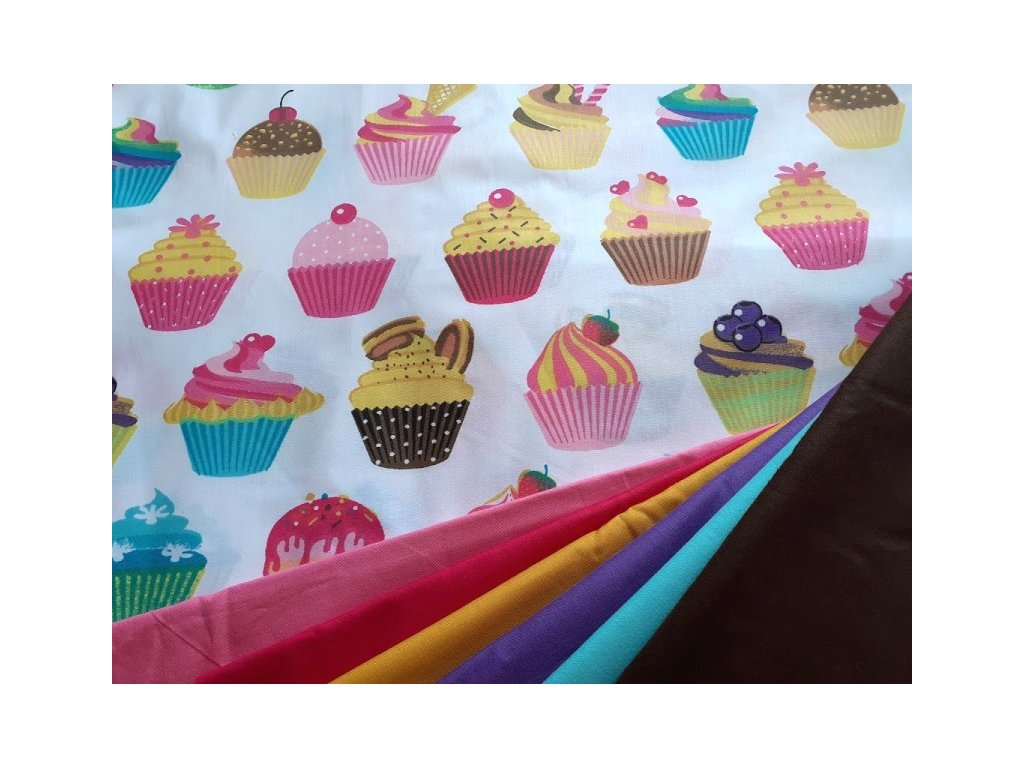 cukrarna muffiny bila latka platno bavlna metraz