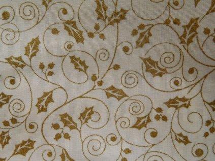 Zlatá cesmína-smetanová látka-metráž