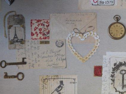 Dopis ze srdce-dekorační směsová látka-potahová látka-metráž