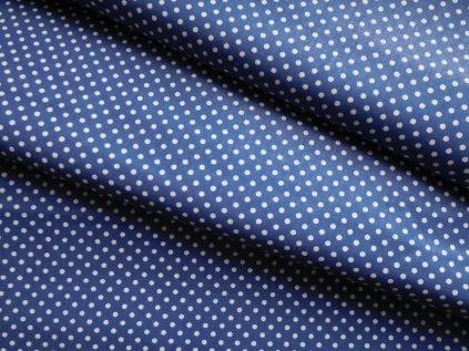 Bílé puntíčky-modrá látka