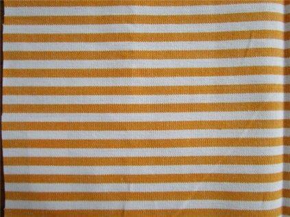 Kanafas pruh metráž - žluto-oranžová látka - plátno - bavlna