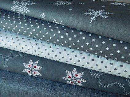 Bílé puntíky - tmavší šedá látka - plátno -bavlna - metráž - 150 cm