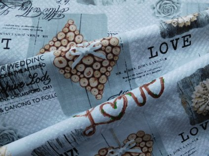 Srdce, love-potahová látka-metráž