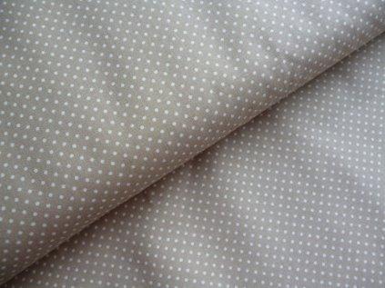 Bílé puntíčky - béžová látka-metráž -150cm