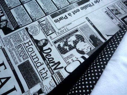 Noviny-černý novinový tisk-bílá látka-metráž