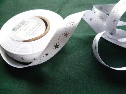 Atlasová stuha vánoční-bílá mašle-šíře 15mm