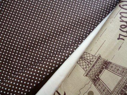 P1030710 bílý puntíček na hnědé a kombinace s tmavě hnědou, bílou a romantickou Paříží