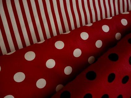 P1040341 proužky, kolečka bílo černo červená kombinace Kreda