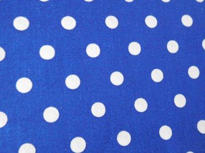 Bílé puntíky-královská modrá látka - metráž