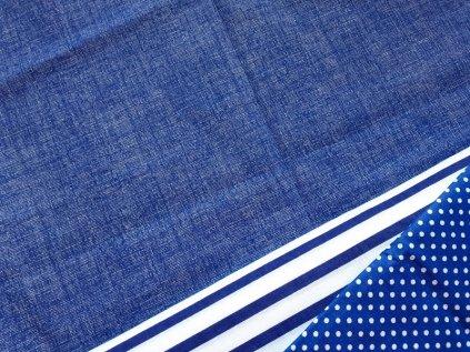 modra rezna lneny efekt metraz platno bavlna