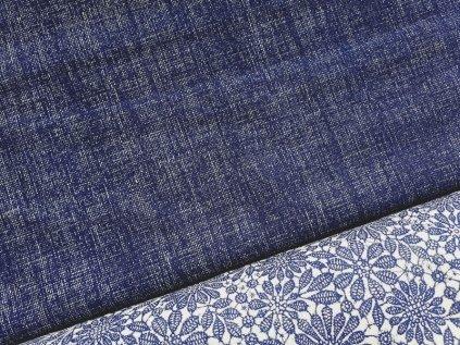 Tmavě modrá látka - lněný efekt - režná látka - metráž - bavlna