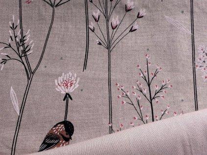 ptacci kvetiny chmyri pampelisky smesova potahova latka kombi