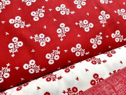 bile kvety cervena latka metraz platno bavlna