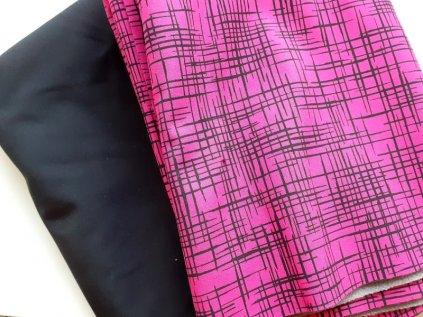 balicek zbytky patchwork latky na vahu cerna a ruzova
