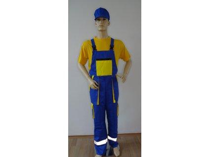 Kalhoty s laclem - modro žlutá