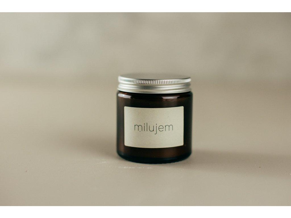 MILUJEM - Sójová sviečka Jemnô 90g v tmavom skle