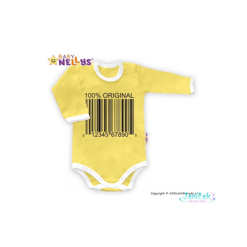 Baby Nellys Body dlouhý rukáv 100% ORIGINÁL - žluté/bílý lem