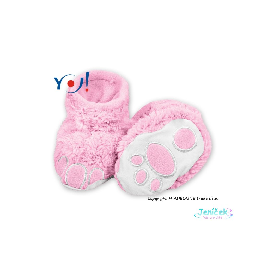 Botičky/ponožtičky YO ! MEDVÍDEK, vel. 6 - 12m - sv. růžové