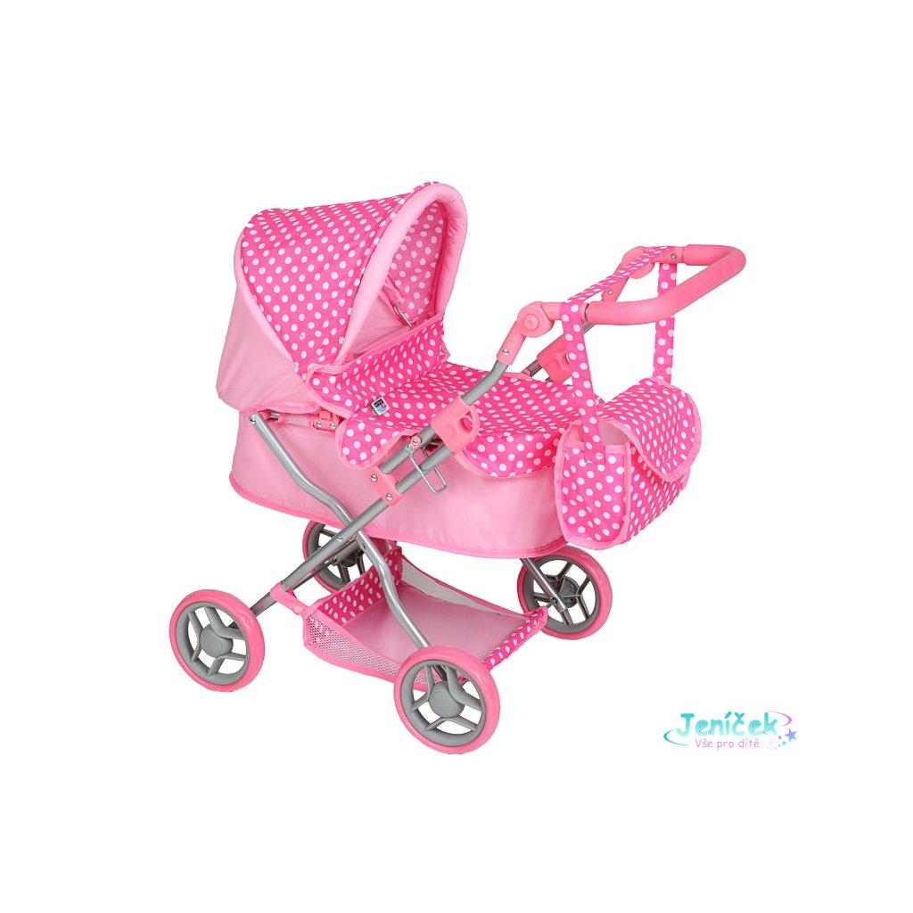 Hluboký kočárek pro panenky PlayTo Viola světle růžový