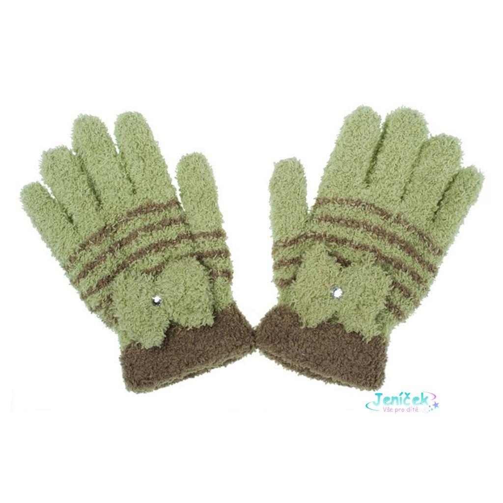 Dětské zimní froté rukavičky New Baby olivové