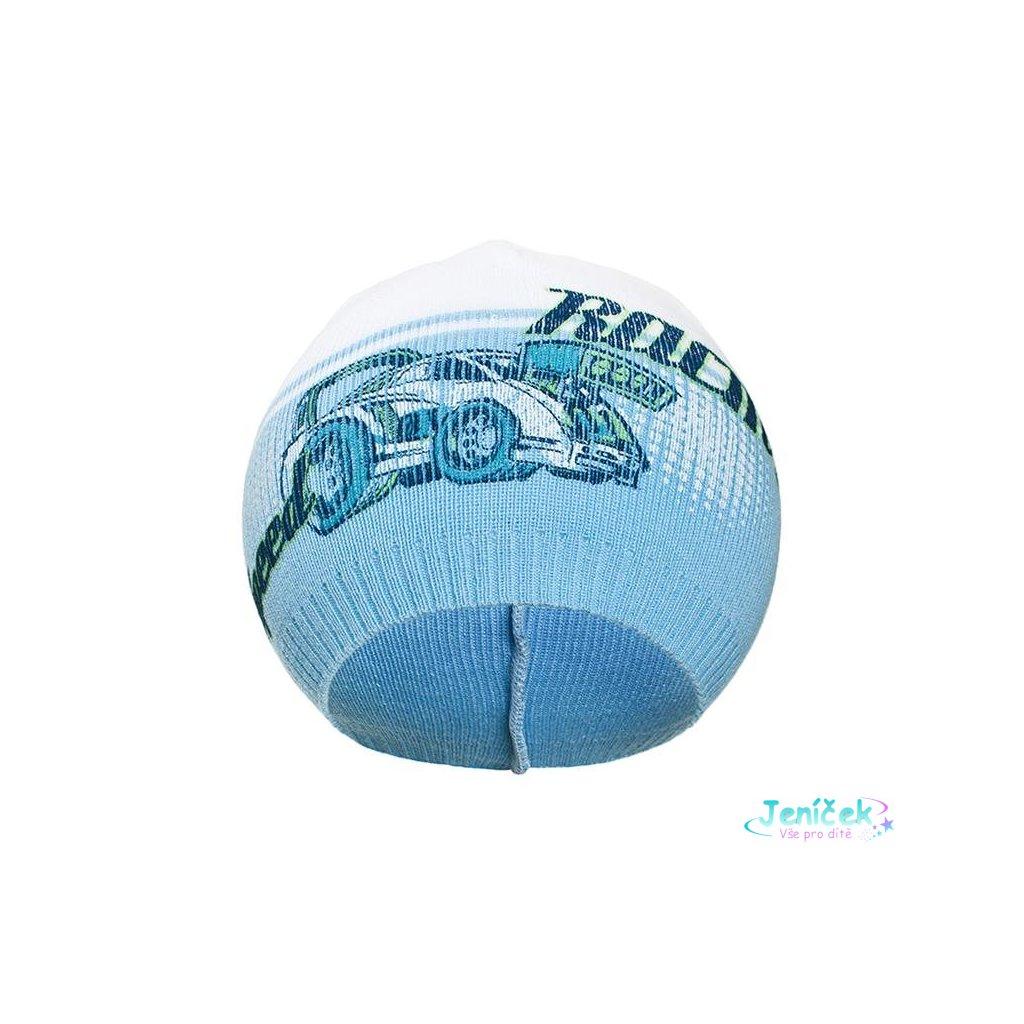 Podzimní dětská čepička New Baby Racing světle modrá