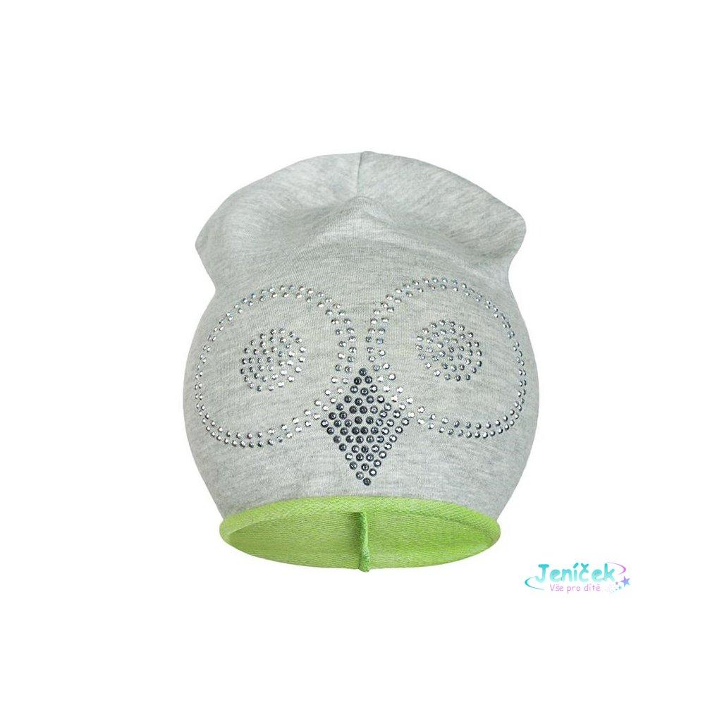 Jarní čepička New Baby sova šedo-zelená