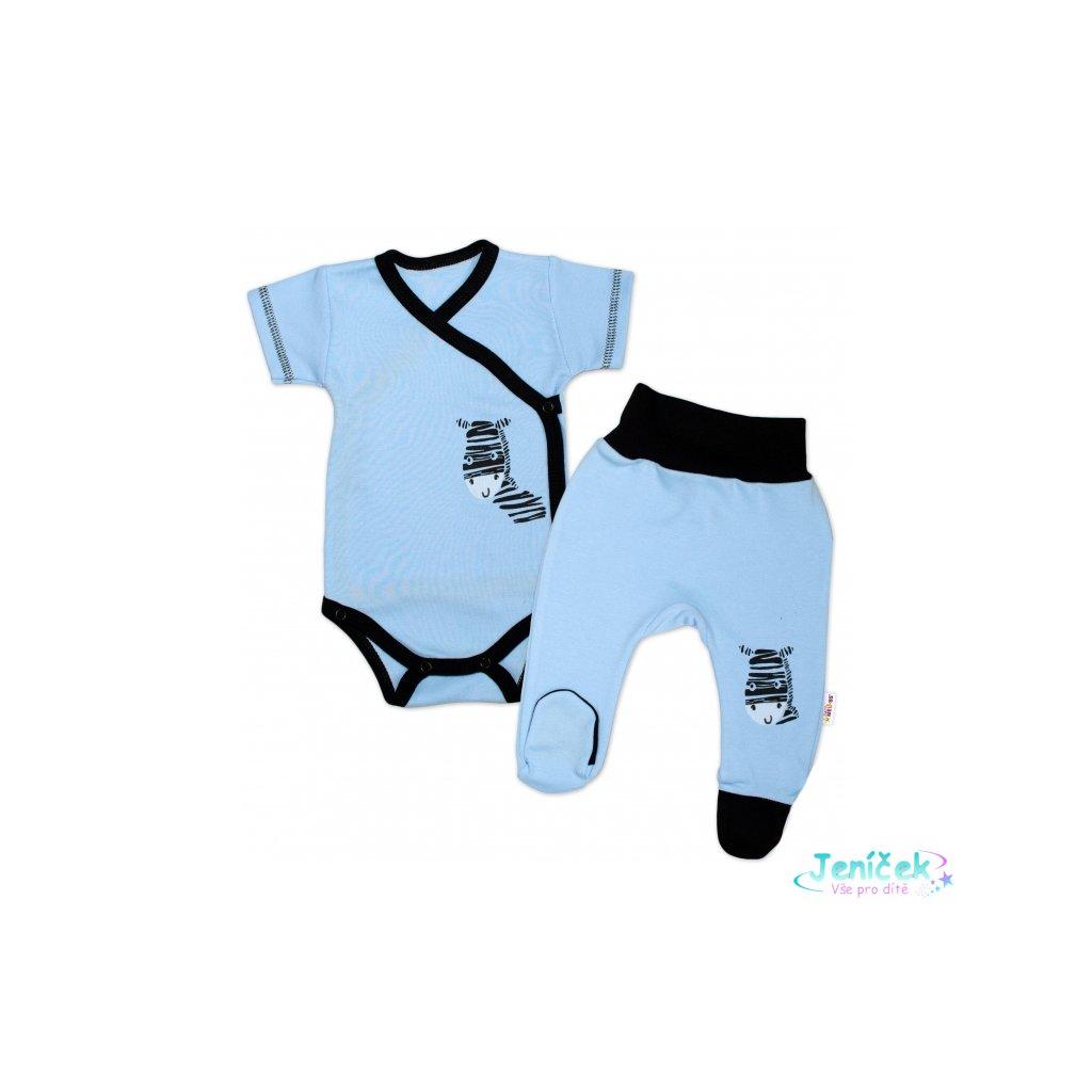 Baby Nellys 2-dílná sada body kr. rukáv + polodupačky, modrá - Zebra