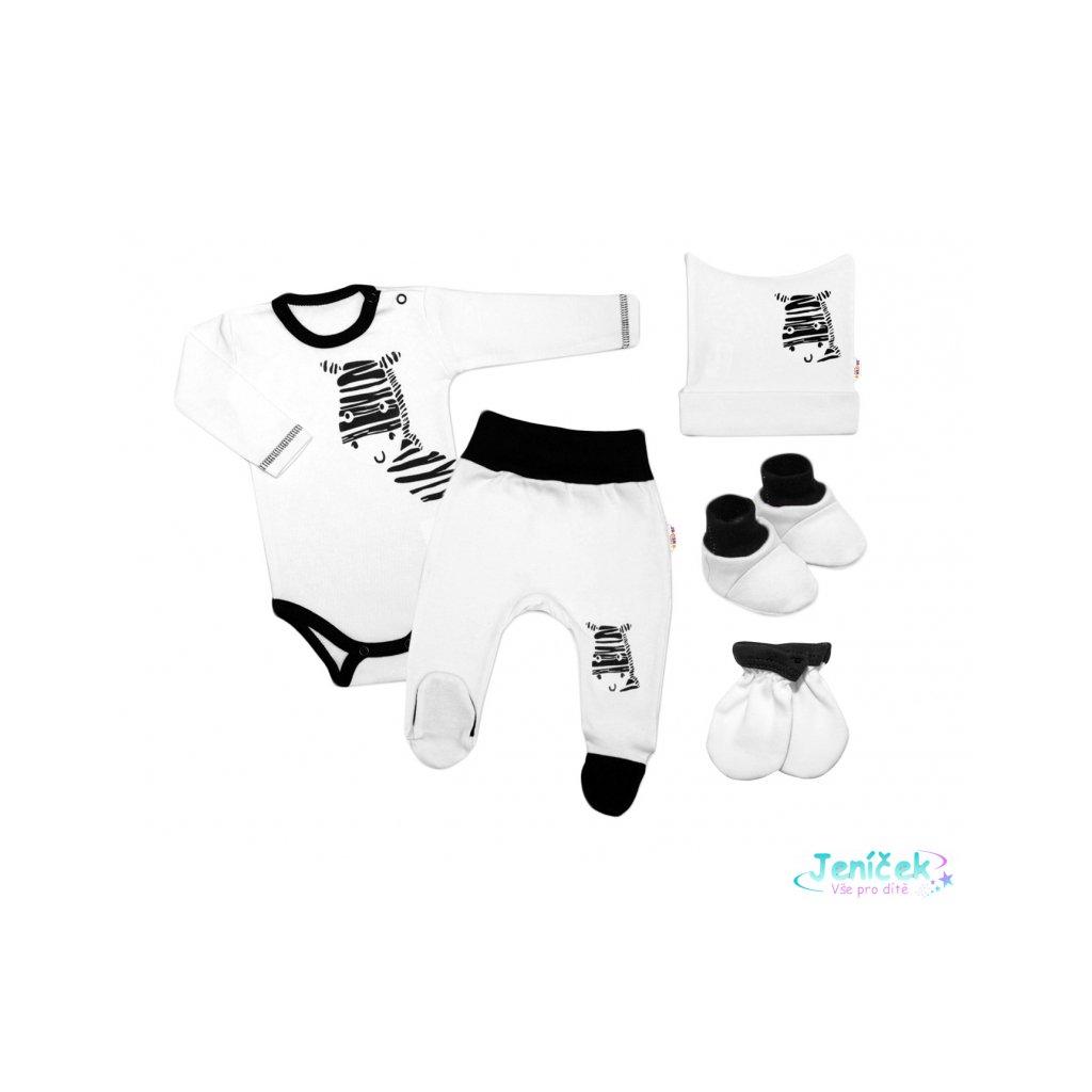 Baby Nellys 5-ti dílná soupravička do porodnice Zebra - bílá, vel. 68