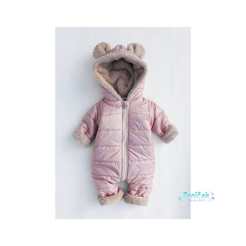 kombinezon zimowy dzieciecy z uszami rozowy