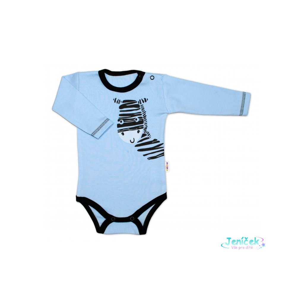 Baby Nellys Body dlouhý rukáv, modré, Zebra, vel. 80