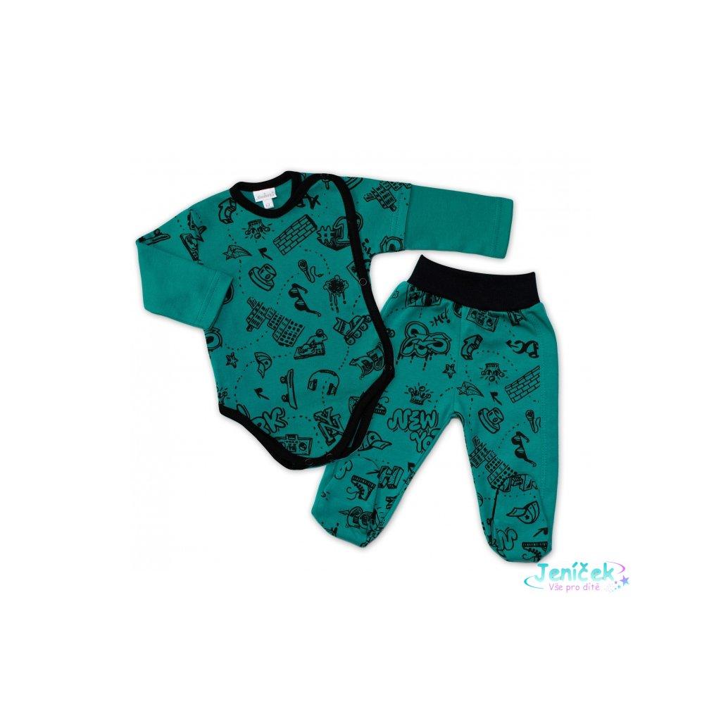 G-baby 2-dílná kojenecká sada ABC - zelená, vel. 62