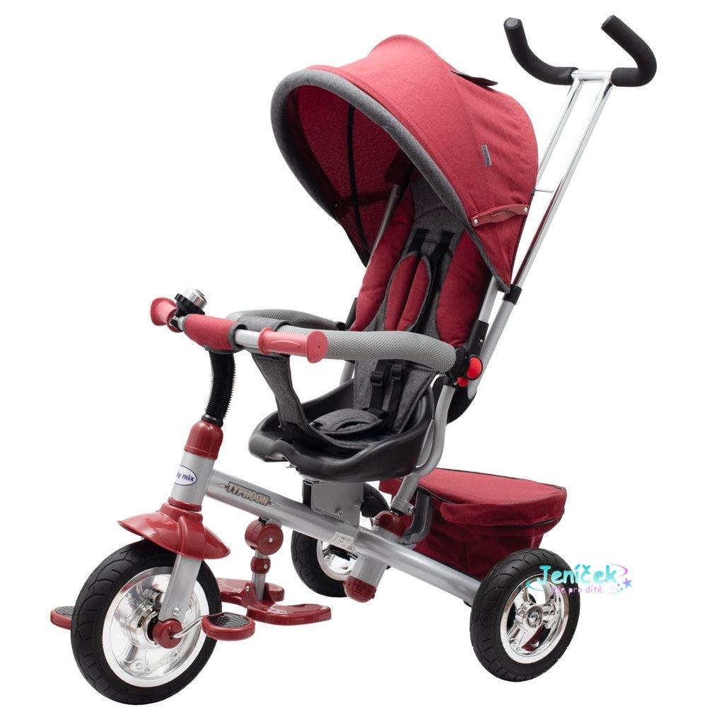 Dětská tříkolka Baby Mix 3v1 TYPHOON 360° bordó