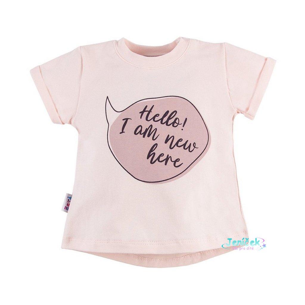 Eevi tričko  kr. rukáv SWAN - růžový potisk