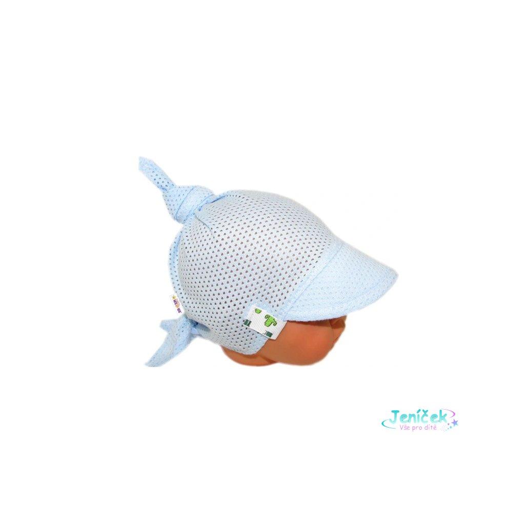 Baby Nellys Dětský síťkovaný šátek s kšiltem na zavazování, kaktus - sv. modrý